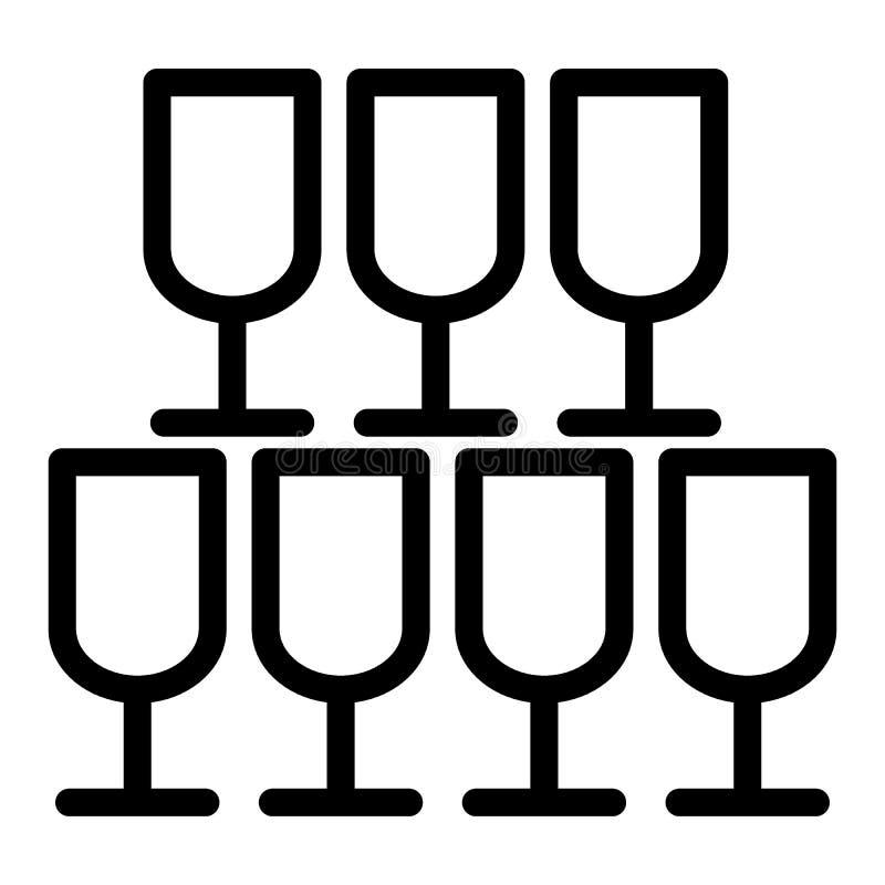 Pyramide de ligne icône en verre Illustration de vecteur de banquet d'isolement sur le blanc Les verres de Champagne décrivent la illustration de vecteur