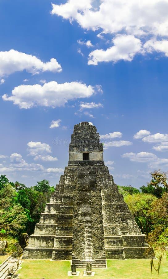 Pyramide de Maya par Tikal au Guatemala image stock
