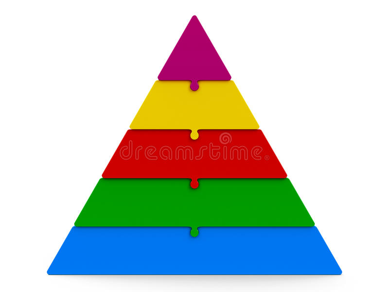 Pyramide de puzzle de cinq couleurs illustration stock