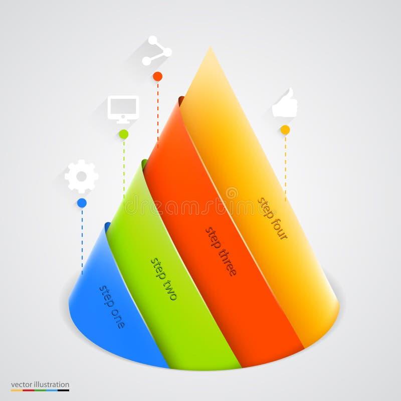 Pyramide de vecteur infographic Descripteur de conception illustration stock