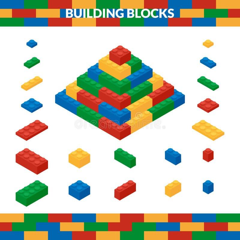 Pyramide des blocs constitutifs multicolores dans le style isométrique illustration stock