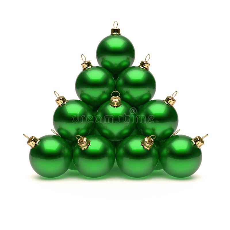 Pyramide des boules vertes de Noël brillantes Babioles du jour de nouvelle année illustration de vecteur
