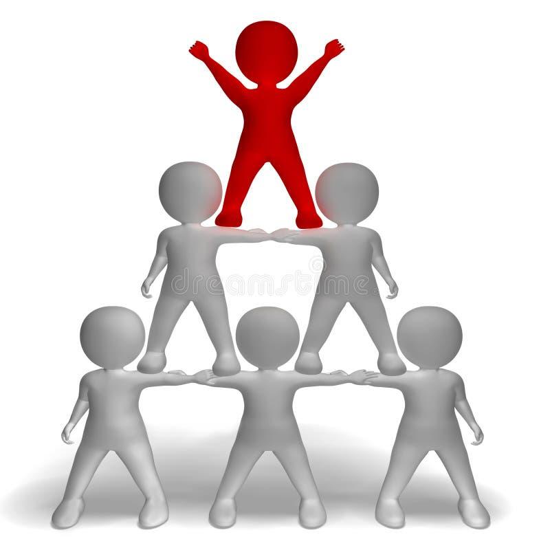 Pyramide des Charakter-3d, die Hierarchie und Teamwork zeigt stock abbildung