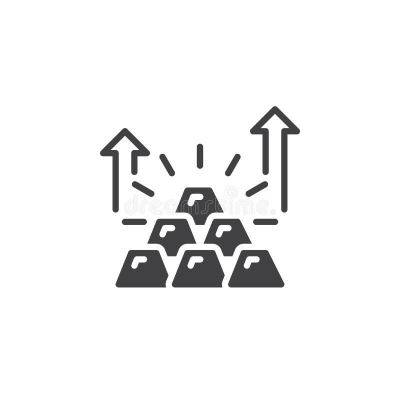 Pyramide des Goldbarrenikonenvektors, gefülltes flaches Zeichen, festes Piktogramm lokalisiert auf Weiß vektor abbildung