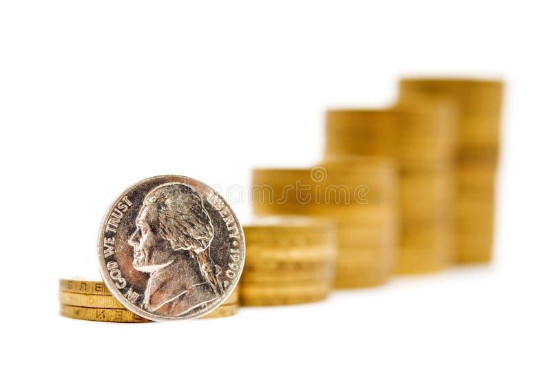 Pyramide des pièces de monnaie photographie stock libre de droits