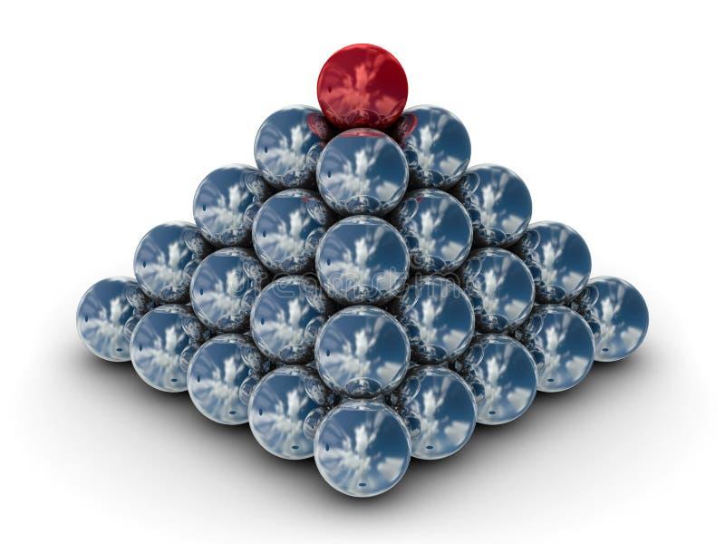 Pyramide des sphères en métal sur un fond blanc. illustration de vecteur