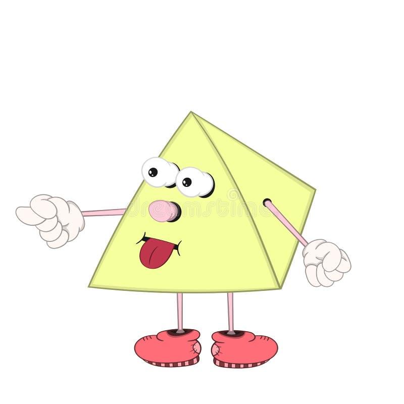 Pyramide drôle de bande dessinée avec des yeux, des bras et des jambes dans des allumeurs de chaussures et la langue d'exposition illustration de vecteur