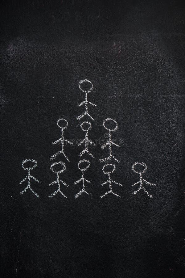 Pyramide humaine d'équipe sur le tableau noir image stock