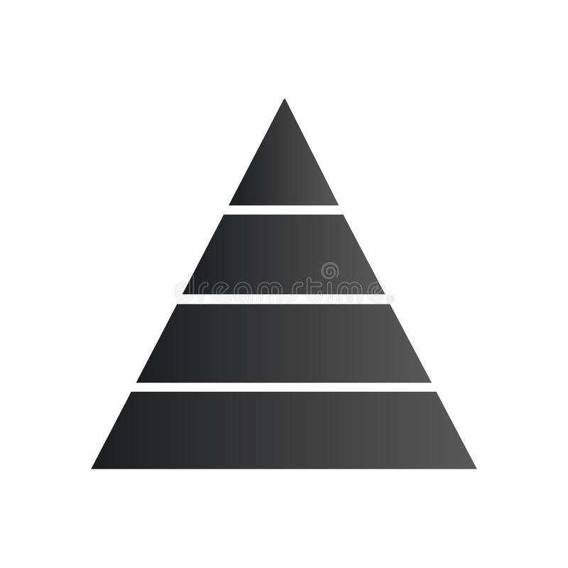 Pyramide infographic Dreieckdiagramm, Diagramm, Entwurf, Diagramm mit vier Schritten, Wahlen, Teile, Prozesse Geschäftsstrategie, stock abbildung