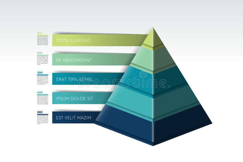 Pyramide infographic, Dreieckdiagramm, Entwurf, Diagramm, Schablone stock abbildung