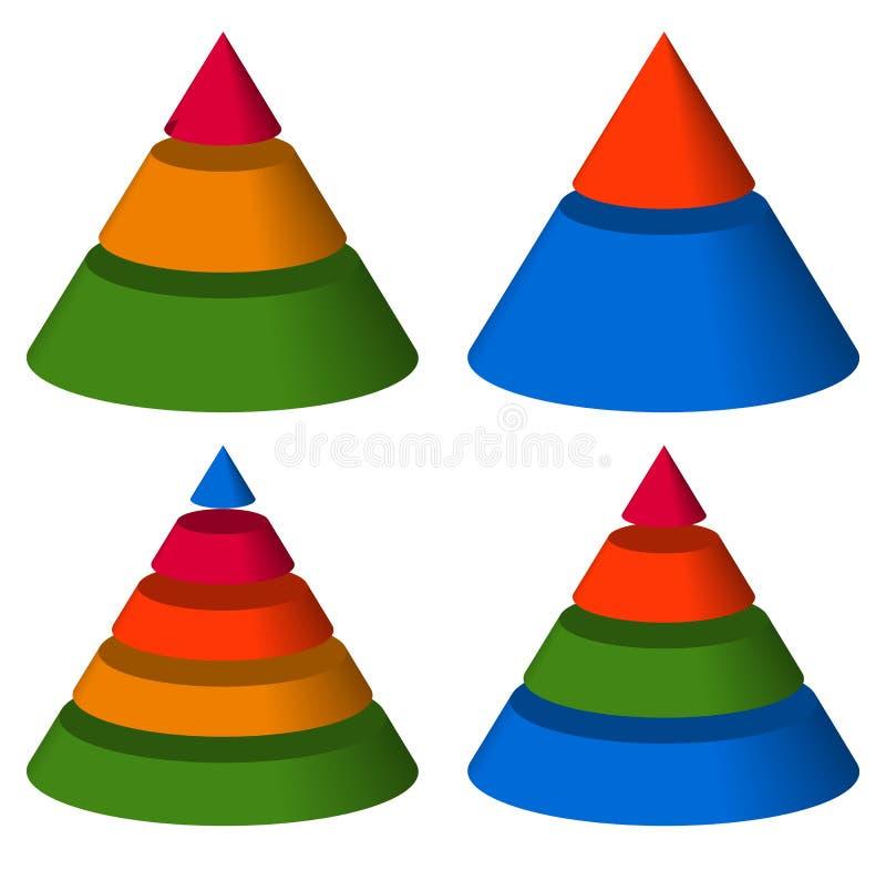 Pyramide, Kegeldiagramme 3-2-5-4 Niveaus Mehrstufiges Dreieck 3d gra stock abbildung