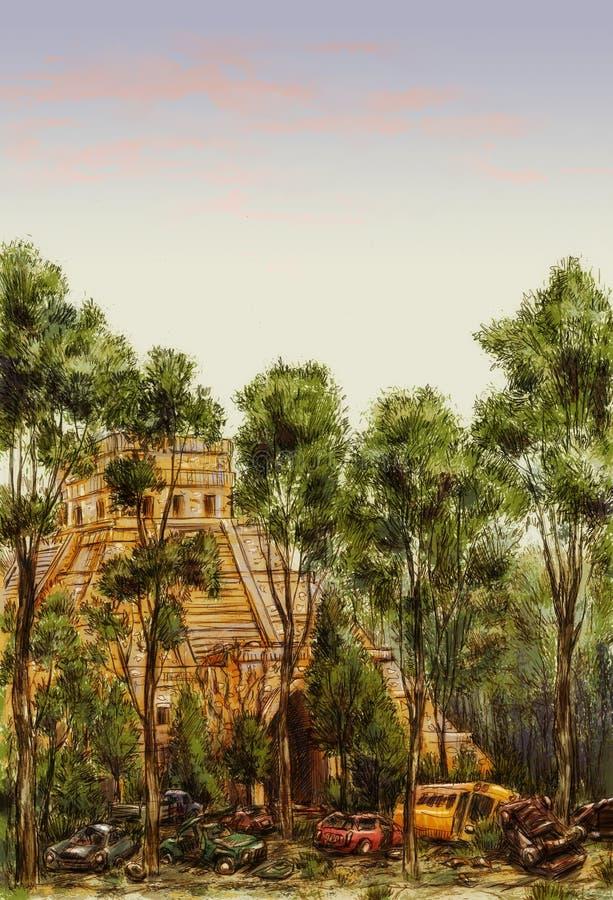 pyramide Mesoamerican Courrier-apocalyptique illustration stock