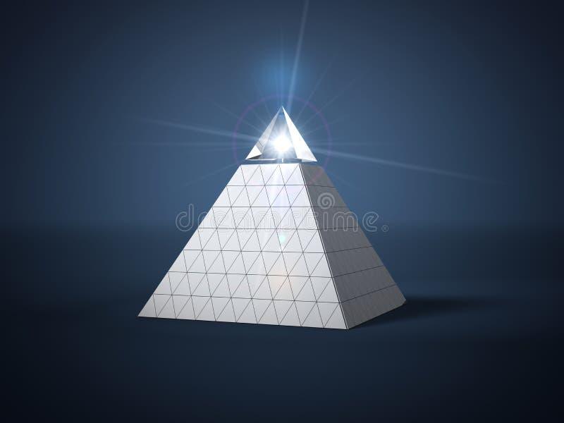 Pyramide mit Glasteil auf Spitzen- und Lichtstrahl in Glasteil Abbildung 3D lizenzfreie abbildung