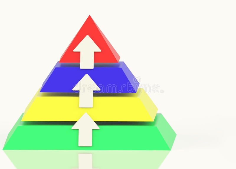 Pyramide mit hohen Pfeilen lizenzfreie abbildung