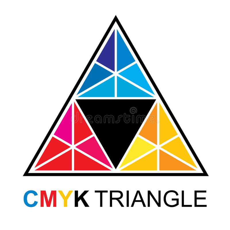 Pyramide polygonale de triangle de CMYK illustration libre de droits