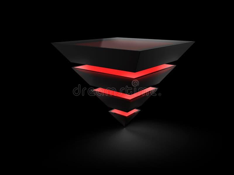 Pyramide posée faite de glace noire illustration de vecteur