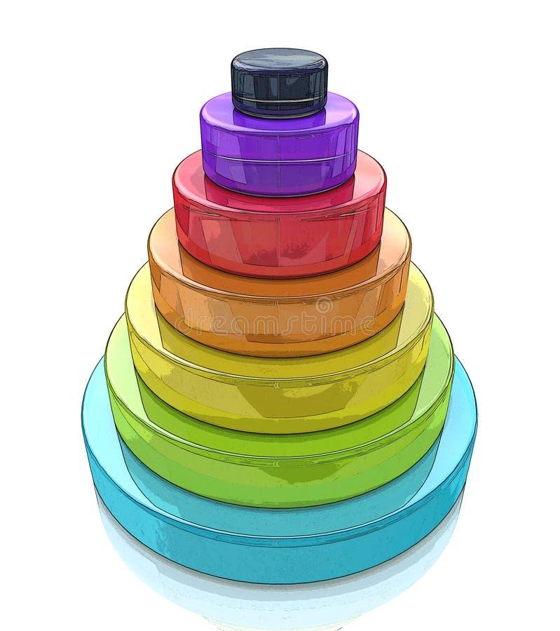pyramide posée par 3d illustration libre de droits