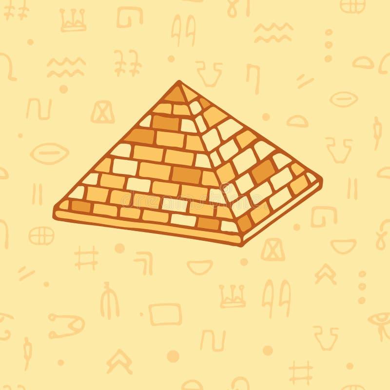 pyramide sans couture de modèle et hiéroglyphes égyptiens l'Egypte antique illustration de vecteur