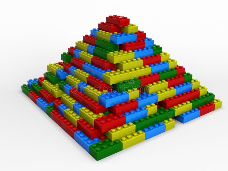 Pyramide soufflée des blocs varicoloured illustration de vecteur