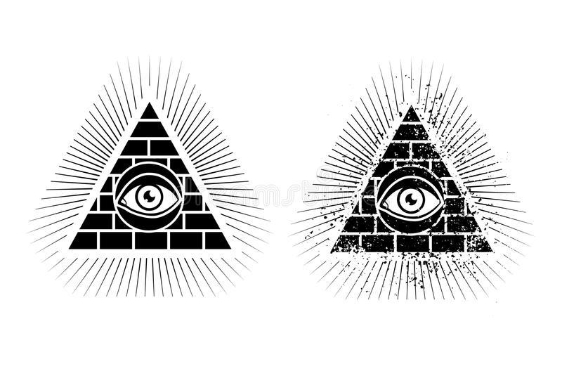 Pyramide und Auge stock abbildung