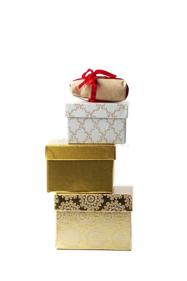Pyramide von Geschenkkästen stockfoto