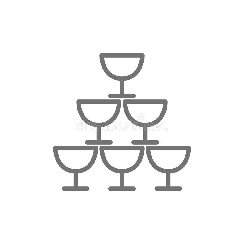Pyramiden av exponeringsglasbägare fodrar symbolen stock illustrationer