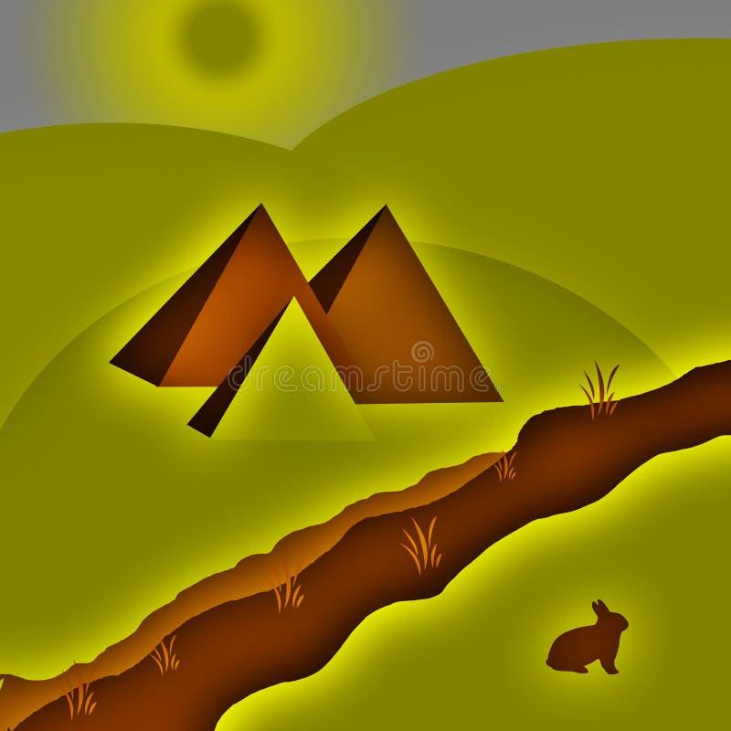 Pyramiden in der Wüste in der Dämmerung lizenzfreie abbildung