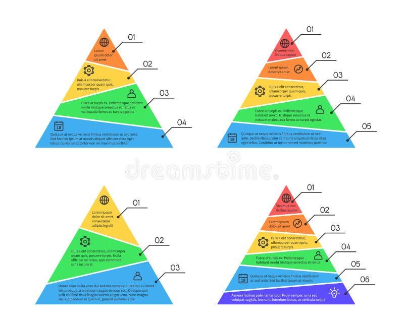 Pyramiden lager kartlägger infographic vektorbeståndsdelar med olika nummer av nivåer royaltyfri illustrationer