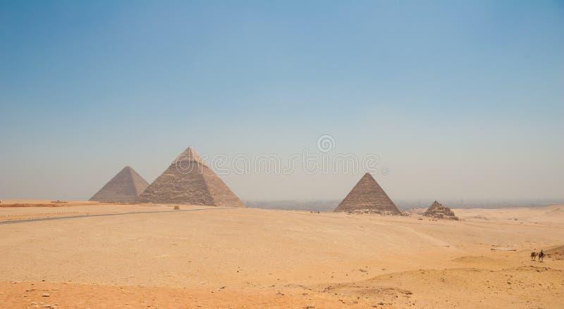 Pyramiden von Giseh, von Kairo, von Ägypten und von Kamelen im Vordergrund stockfoto
