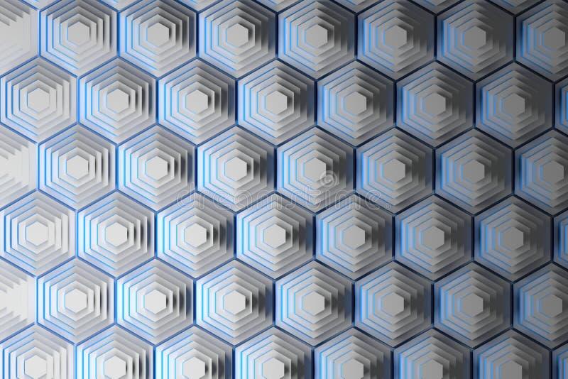 Pyramiden von weißen Hexagonen lizenzfreie abbildung