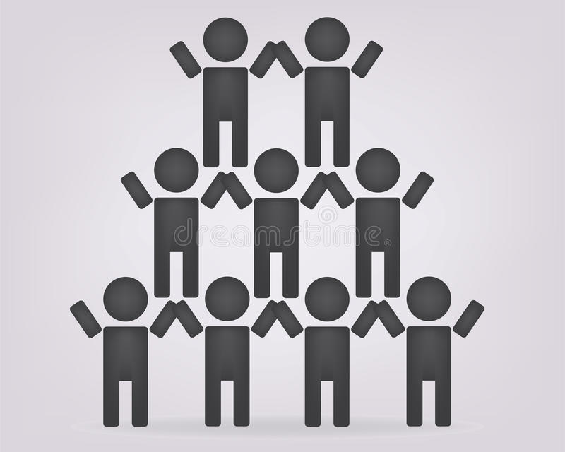 Pyramidenteam Ikone Vektor team Ikonen-Kunstnetz-Logoteamwork, Leute, Einheit lizenzfreie abbildung