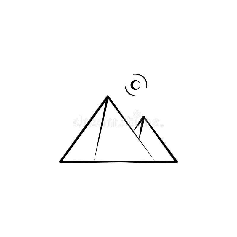 Pyramider av den Egypten symbolen Beståndsdel av landskapsymbolen för mobila begrepps- och rengöringsdukapps Handen drog pyramide stock illustrationer