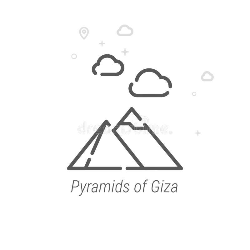 Pyramider av Giza, Egypten vektorlinje symbol, symbol, Pictogram, tecken Ljus abstrakt geometrisk bakgrund Redigerbar slaglängd royaltyfri illustrationer