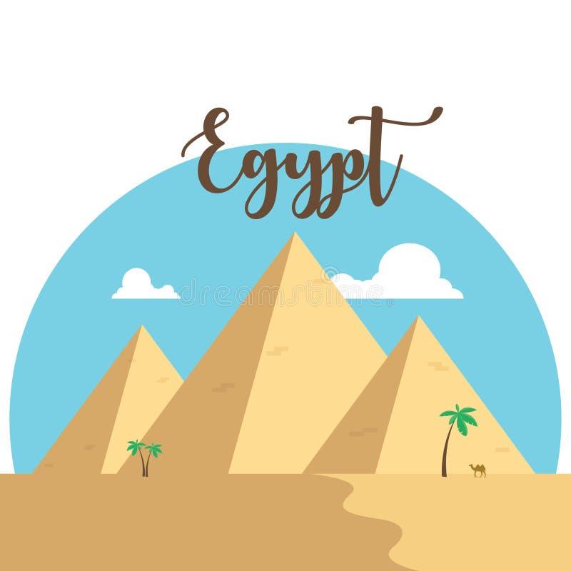 Pyramider för Egypten lägenhetdesign Gömma i handflatan den berömda forntida kamlet för öknen royaltyfri illustrationer