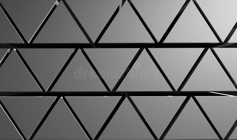 Pyramiderna gör sammandrag bakgrund från trianglar av grå färg illustration 3d vektor illustrationer