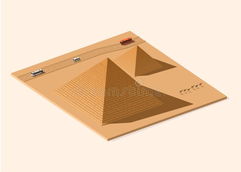 Pyramides égyptiennes Basse poly illustration isométrique illustration stock
