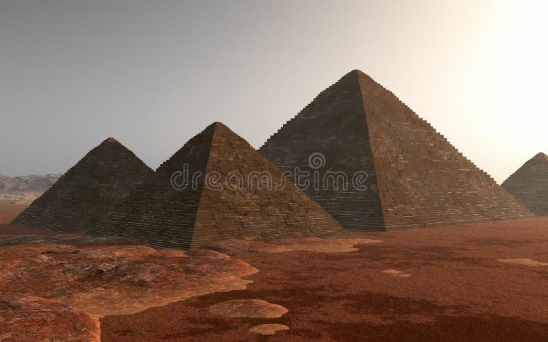 Pyramides égyptiennes dans le désert illustration de vecteur