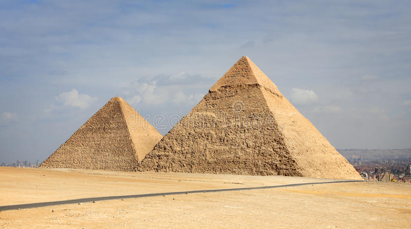 Pyramides grandes de Giza, Egypte photographie stock libre de droits