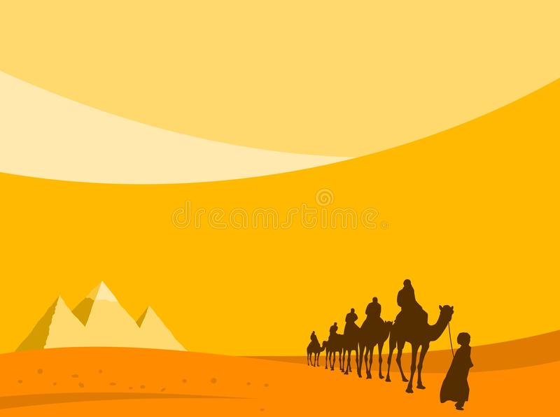Pyramids And Camels Background royalty free illustration