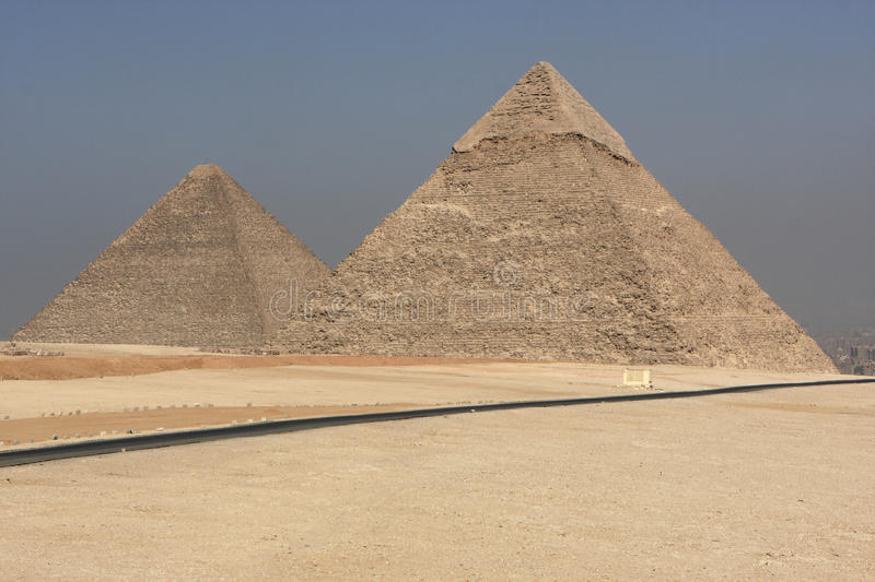 The pyramids of Giza stock images