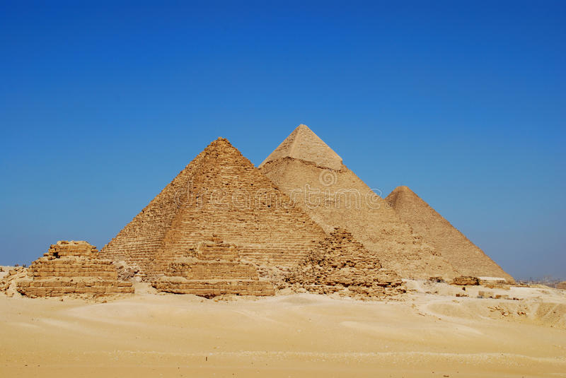 The Pyramids at Giza. On a clear day near Cairo, Egypt stock photos