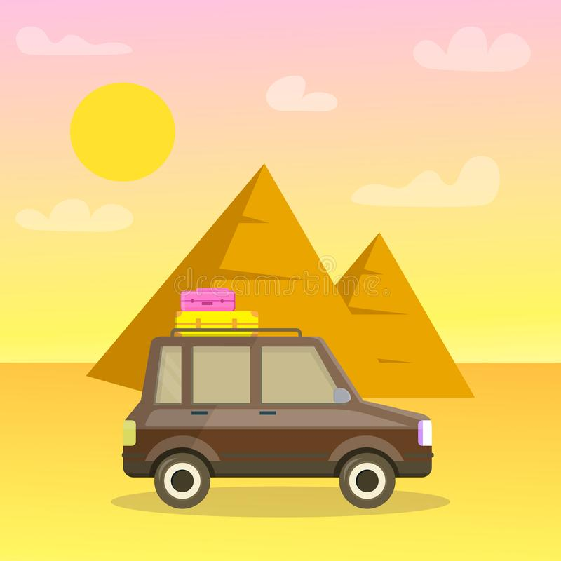 Pyramids of Giza Cartoon Travel Postcard, Poster stock illustration