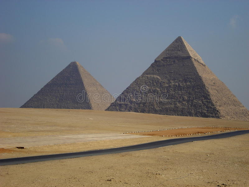 The Pyramids of Giza. The Pyramid of Khafre. Among the major tourist sites are the Pyramids of Giza. There are three main Pyramids here, which were built in the royalty free stock photography