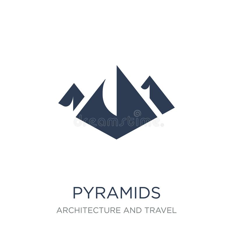 Pyramids icon. Trendy flat vector Pyramids icon on white background from Architecture and Travel collection royalty free illustration