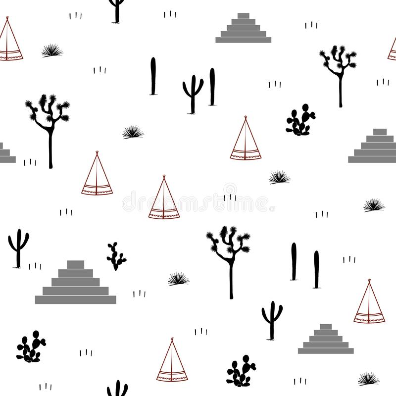 Pyramids, indian tents, saguaro, agaves, and opuntia cactuses on white background. Cute design for textile, wallpapers, kids industry. Vector illustration stock illustration