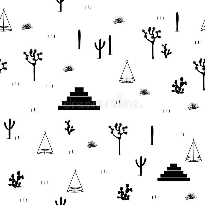 Pyramids, indian tents, saguaro, agaves, and opuntia cactuses on white background. Cute design for textile, wallpapers, kids industry. Vector illustration royalty free illustration