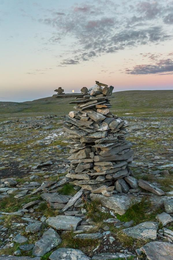 Pyramids made of stones, the island of Mageroya, Norway. Pyramids made of stones, Mageroya island, Norway royalty free stock images