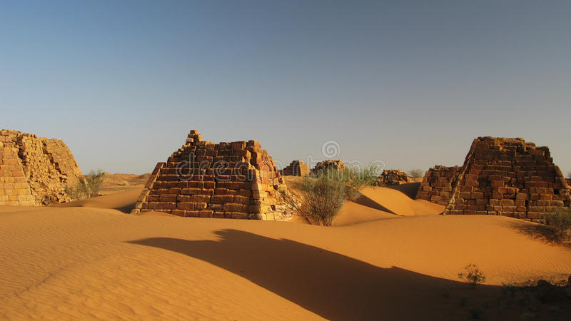 Pyramids of Meroe royalty free stock photography