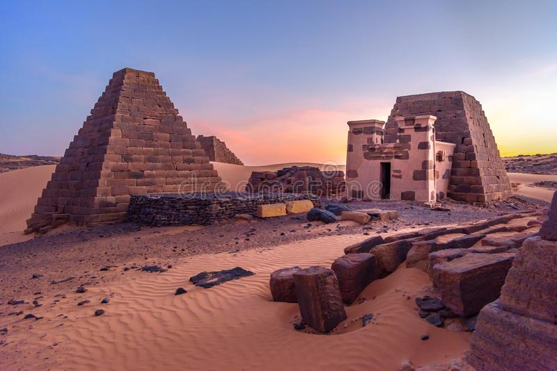 Pyramids of Meroe, Sudan in Africa royalty free stock images