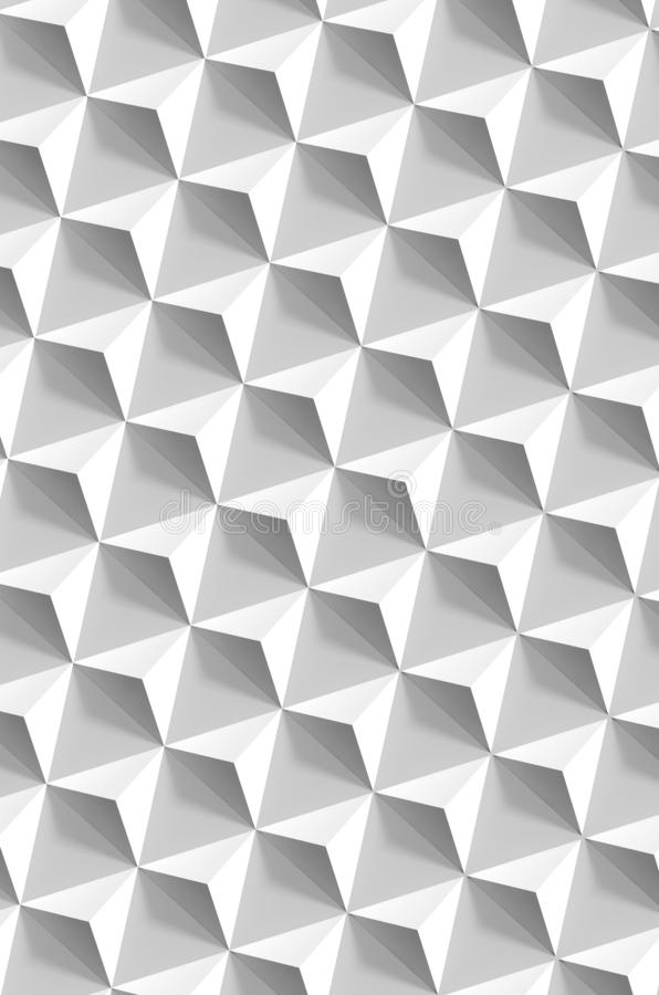 Pyramids over gray wall, vertical background, 3d. Abstract geometric pattern, white pyramids over gray wall, vertical background, 3d render illustration stock photos